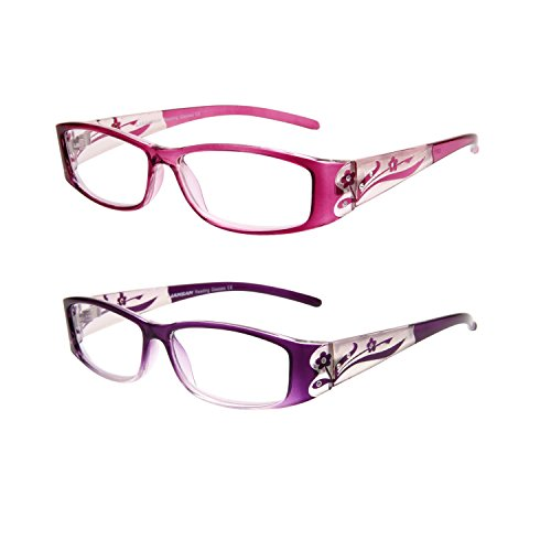 Rhinestone Readers 2 Pack Stylish Bling Reading Glasses for Women Floral Pattern Magnifying Eyeglasses Fashion Rectangular Ladies Glasses 1.75 Strength Pink Purple
