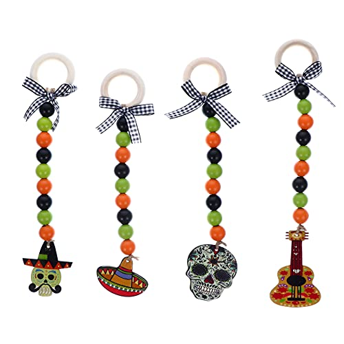 VALICLUD 4pcs Wooden Beads Hanging Ornament Day of the Dead Wood Bead Garland Front Door Hanging Prayer Beads for Festival Party Decoration Pendant Mixed Style