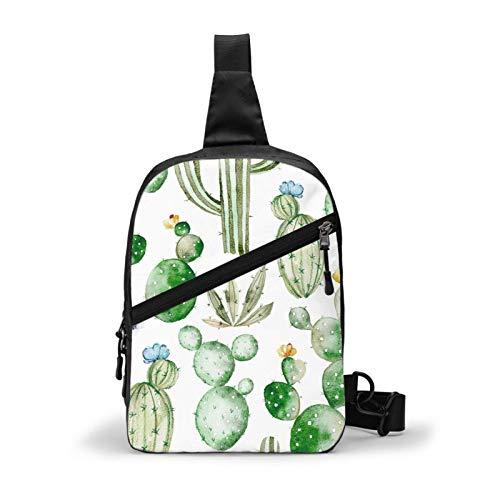 Cactus Sling Bag,Crossbody Shoulder Chest Outdoor Hiking Travel Personal Pocket Bag for Women Men Water Resistance