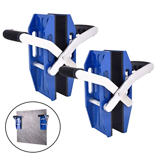 Double Handed Stone Carrying Clamps with Rubber-lined, Porterage Tools for Transporting of Glass Slabs/Metal Sheet/Granite Island/Countertop - Set of 2