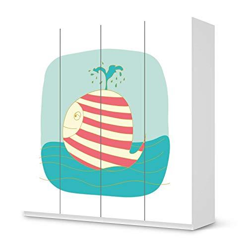 creatisto Möbel Klebefolie für Kinder - passend für IKEA Pax Schrank 201 cm Höhe - 4 Türen I Tolle Möbelsticker für Kinderzimmer Einrichtung I Design: Funny Wale