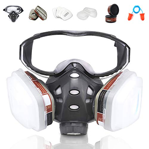 Upgraded Version Reusable Half Face Cover, 8200 Face Cover with Goggle, Protection for Painting, Decorating, Machine Polishing, Welding and Other Protection, Same as 6000 7800 FF-400 6000 DIN V-Series