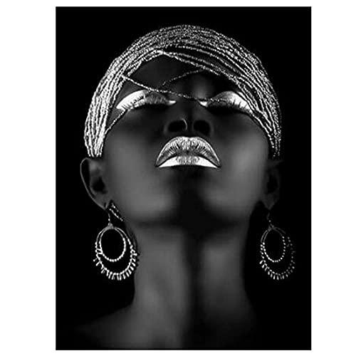 Casuey Diamond Painting para Adultos niños Bordado Punto de Cruz para Decoración del hogar Mujer Africana DIY 5D Pintura Diamante Artes Manualidades Taladro Completo Kit,Taladro Cuadrado,110X140cm