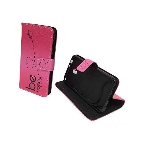 König Design Handyhülle Kompatibel mit Vodafone Smart Prime 7 Handytasche Schutzhülle Tasche Flip Hülle mit Kreditkartenfächern - Be Happy Design Pink