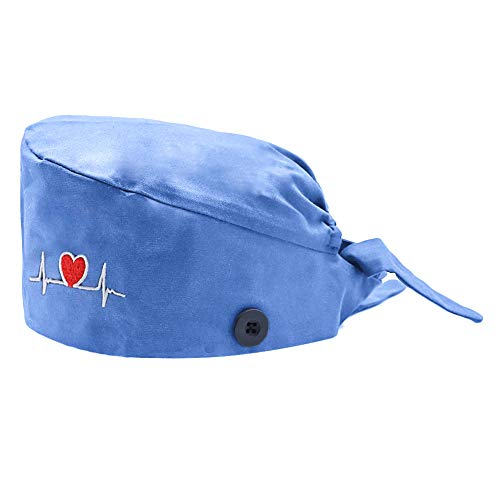 BUTITNOW Working Cap with Button and Sweatband Adjustable Bouffant Hats for Women Men