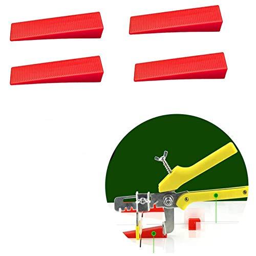 FreeLeben 100 Piezas Localizador de Suelo de baldosas Insertar nivelador de azulejo Máquina de nivelación de cuña para la Herramienta de Ayuda del Sistema de aplanamiento de Placas (Rojo)