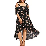 Plus Size Summer Beach Maxi Dresses Cold Shoulder Floral Boho Sundresses with Hi Lo Hem Black