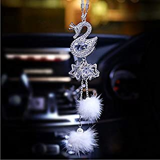 SZWGMY Car Auto Rearview Mirror Pendant Crystal Swans Hanging Ornament Car Interior Decoration Car Accessories Home Decor … (White)