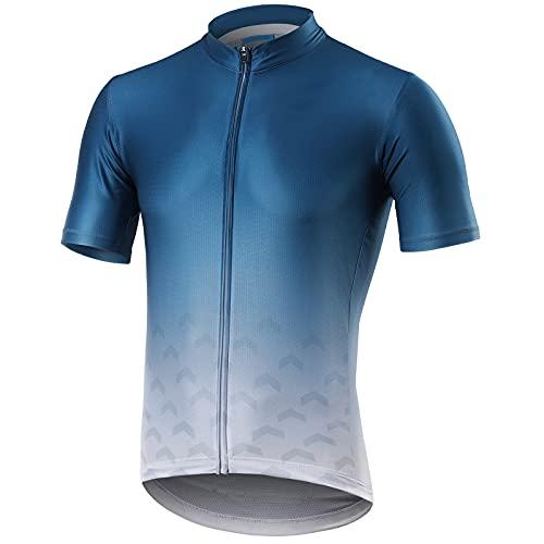 Pateacd Jersey de Ciclismo para Hombre de Manga Corta Transpirable de Secado Rápido con Bolsillos con Cremallera Reflectante Resistente al Viento para Bicicleta de Montaña,Style 1,S