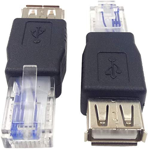 Conector AF-RJ45 USB 2.0 hembra a Ethernet RJ45 macho AF-8P8C, adaptador de enchufe de red de transferencia USB Marca: Haokiang (paquete de 2)