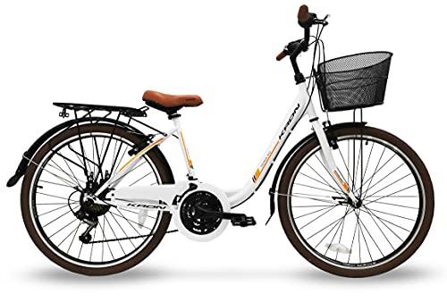 Bici donna 26'' bicicletta kron tetra 3.0 24'' city bike bianca cambio shimano 21v (26'', Bianco)
