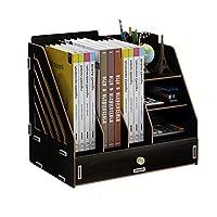 書類トレー デスクトップファイルデータラック多機能学生ブックスタンドデスクトップ収納ボックス引き出し付き デスク上置棚 (Color : Black)