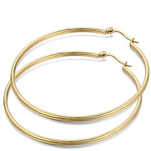 JewelryWe Pendientes de Aros Grande Circulos Huggies, Acero Inoxidable Pendientes de Mujer Dorados, Retro Vintage Pendientes Grandes Diseño Elegante 48mm