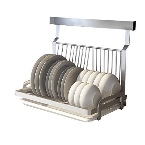 Escurreplatos Cocina de acero inoxidable Estante for Platos Cubiertos Plate Copa Escurridor Tendedero titular de montaje en pared de la cocina de almacenaje del organizador Escurridor de Platos
