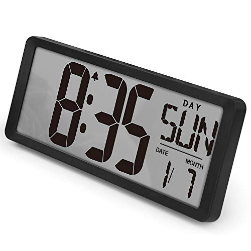 """TXL Large Digital Wall Clock, with 15.35"""" Large Screen Display, Oversized Calendar Electronic Alarm Clocks with 12-24Hr/Count Up-Down Timer/Temperature, Battery(Included) for Home Studio Hotel, Black"""