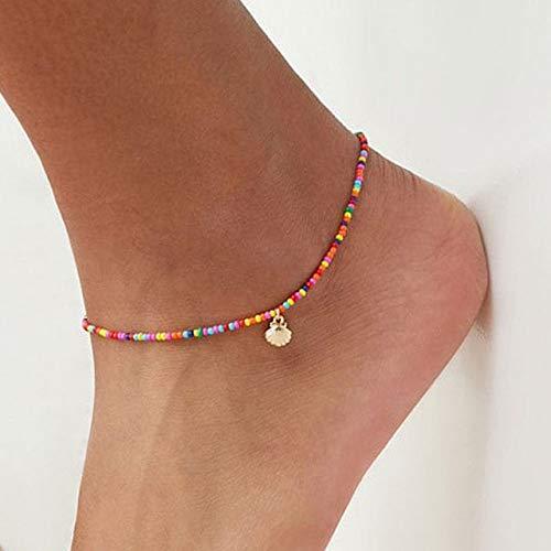 WEIYYY Moda Colorful Seed Beads Cowrie Shell Tobillo Pulsera Summer Ocean Beach Tobilleras para Mujer Pie Pierna Pulsera Joyería, TS1906210451