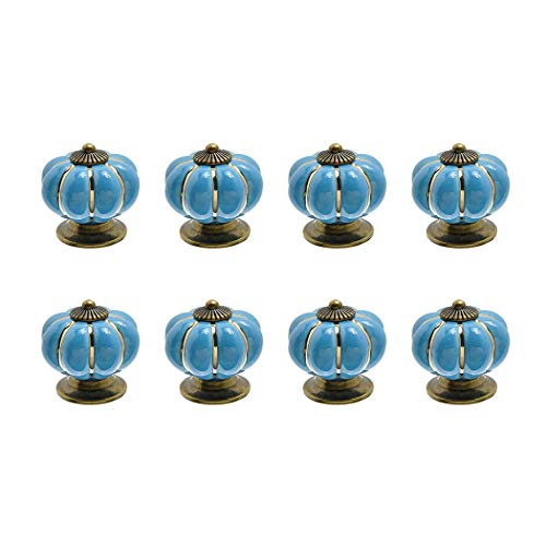 8pcs cassetto manopole maniglie zucca Cool design Hardware per porte cassetti, blu