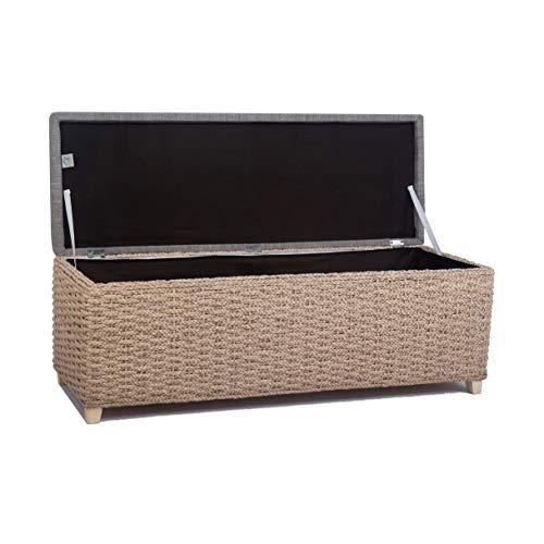 Büloo Bettbank Schlafzimmerbank Flurbank Schuhbank Sitzbank mit Aufbewahrung AufbewahrungshockerFaltbarer Aufbewahrungsbox aus natürlicher Wasserhyazinthe,mit Füße (112x40x40 Grau) - 2