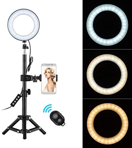 6 Inch LED Ring Light Kit with Tripod Stand Desktop Portable Selfie Light 3000-6000K 3 Light Modes Dimmable Brightness with Wireless Remote Control Cell Phone Holder Mini Camera Ringlight Kit