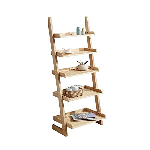 FUFU Wooden Bookshelf, Bathroom Shelf With 5 Layers, Living Room Office Bookshelf, Wall Tilting Bookshelf, Color Optional (Color : Wood color)