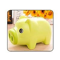 貯金箱 コイン貯金箱キッズギフト保存現金ポータブルホームデコレーションかわいい漫画の動物のプラスチック製の貯金箱子供 贈り物 (Color : Green)