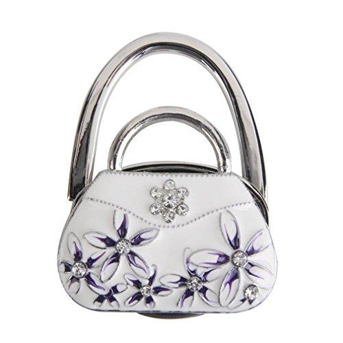 Künstliche Diamant Falten Handtasche Handtasche Haken Faltbare Handtasche Haken für Tabelle Schreibtisch Tasche Halter Haken für Womens Tasche Lagerung von The Big Thumb, Blume