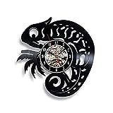 wtnhz LED-Reloj de Pared con Disco de Vinilo camaleón 12 Pulgadas diseño de decoración Negro Retro Animal Moda Creativo Retro DIY Reloj de Pared