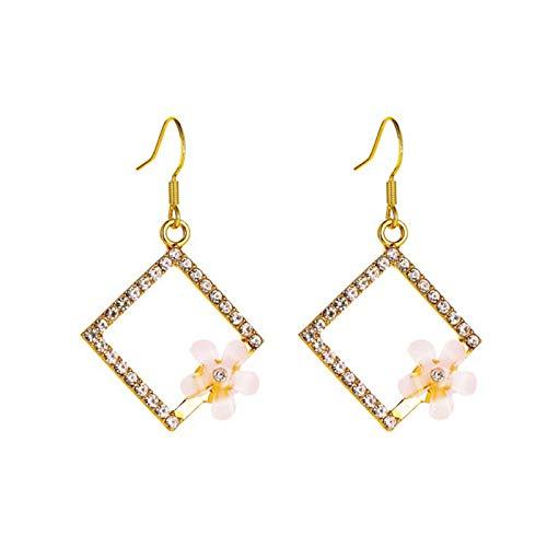 Ruby569y - Pendientes largos geométricos para niñas, diseño de flores de cristal sintético, elegantes pendientes de oreja para día de fiesta o día de fiesta