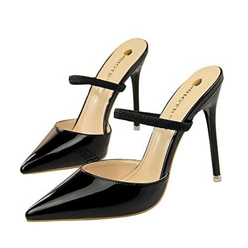 Damen Spitze Pumps mit Pfennigabsatz Hochzeit PU Gürtel 10cm 2019 Damenschuhe Klassische Moderne Absaetze Pumpe Stiletto Flip Flops schwarz