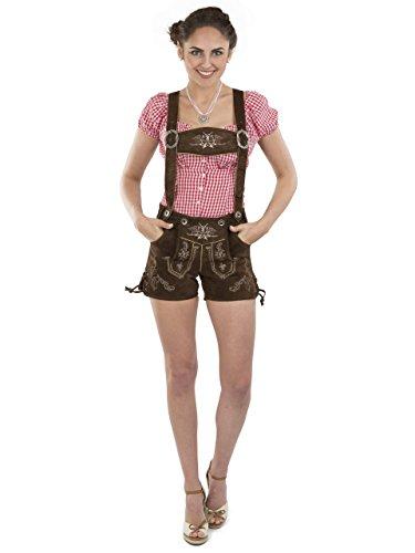 Lederhose Almglück kurz - Schöneberger Trachten Damen sexy Hotpants Trachtenlederhose Dirndl Alternative braun (42, braun)