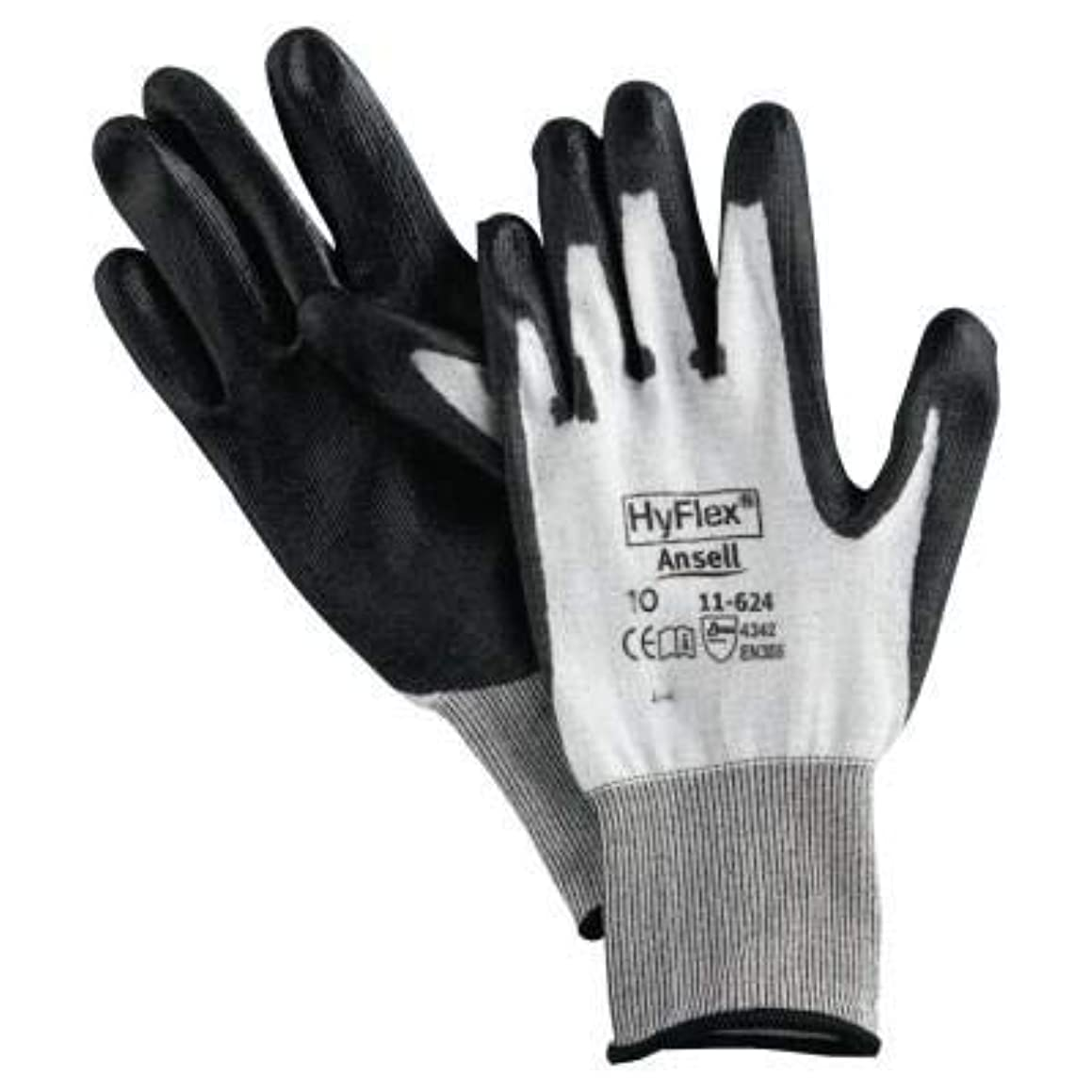 Ansell Size 11 HyFlex? Light Duty Cut Resistant Black Polyurethane Palm Coated Work Gloves With White Lycra? And DSM Dyneema? Liner And Knit Wrist