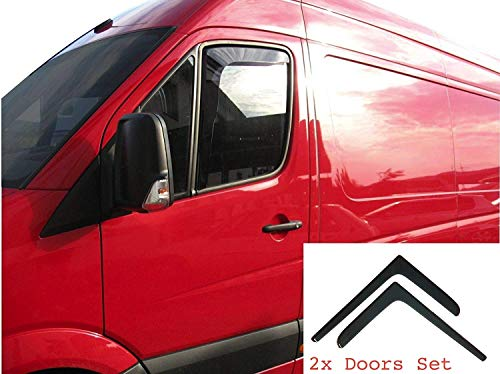 AC WOW 2x Wind Deflectors Compatibel V W Crafter 2006-2017 MERCEDES Sprinter 2006-2018 Acryl Glas Deur Zijkant Windows In-Channel Visors Regen Sneeuw Zonnebescherming