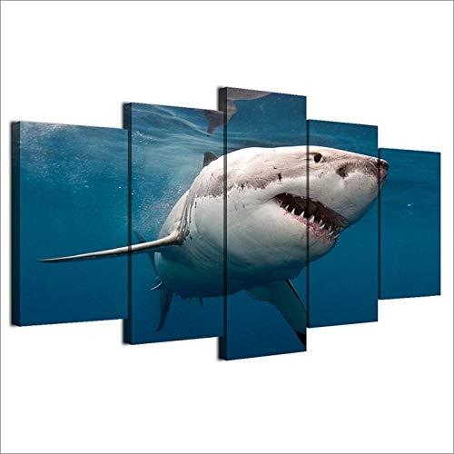 XXXCH Cuadro Sobre Lienzo - 5 Piezas - Impresión En Lienzo - Gran Tiburón Blanco Submarino Cuadro De Pintura Póster De Arte Moderno Oficina Sala De Estar O Dormitorio Decoración Del Hogar Ar 200X100CM