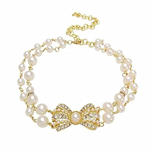 DISHUECO Collar de perlas para mascotas, ajustable, 2 filas con lazo brillante, collares de perlas para mascotas, gatos, perros pequeños