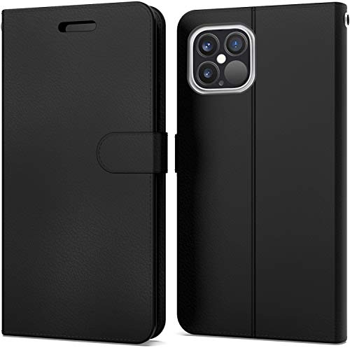 """CoverON Pouch Designed for Apple iPhone 12 Pro Max Wallet Case (6.7""""), RFID Blocking Flip Folio Stand PU Leather Phone Cover - Black"""