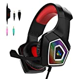 Y-Team Gaming Headset for Xbox One Gaming Headphone with Noise Cancelling Microphone Stereo Audio Soft Earmuff LED Light for Xbox One PS4 PC Mac Laptop Switch(Red)