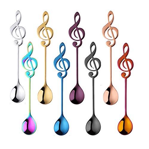 Zunruishop Mestolo in acciaio inox 304, cucchiaini da caffè a forma di notazione musicale (multicolore), L*8