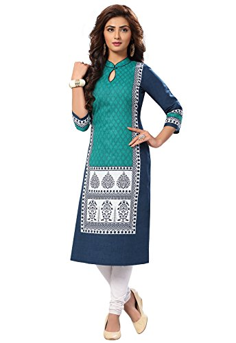 Ishin Cambric Cotton Blue Printed Party Wear Wedding Wear Casual Daily Wear Office Wear Festive Wear New Collection Latest Design Trendy Women's Calf Lenght Straight A-line Kurta