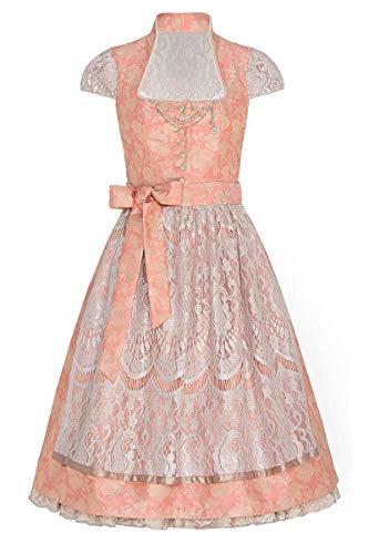 Tramontana Midi Dirndl 65er abrikoos taupe met petticoat Patrizia 006276, glamoureuze dirndl, extravagante uitsnijding, rok met afneembare petticoat, afneembare charivari
