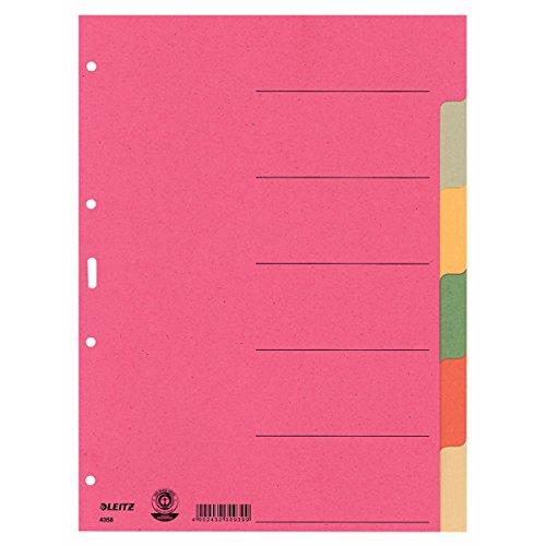 Leitz 4358 Kartonregister DIN A4 6fach blanko 6 Farben durchgefärbt