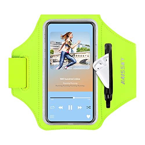 HAISSKY Fascia da Braccio Portacellulare con Titolare Airpods per Correre Sweatproof Fascia Sportiva da Braccio per iPhone 12 Pro MAX/iPhone 11 Pro Max/11 Pro/XS Max,Galaxy S10+S10/S10e/S9 fino a 6.8'