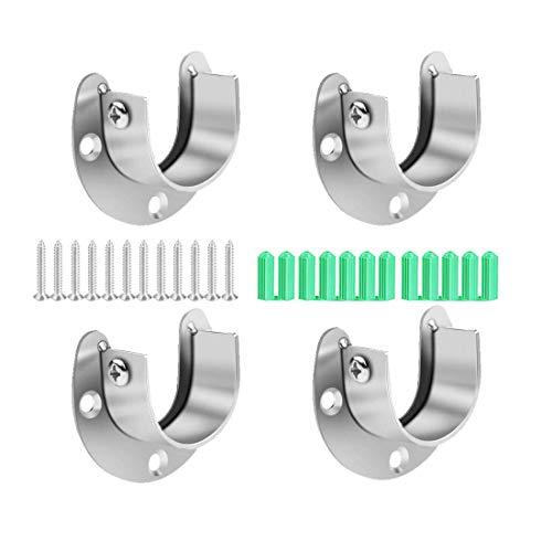 Soporte de barra de acero inoxidable para armario, 4 piezas, con forma de U, con brida abierta, con tornillos, apto para soporte de barra de cortina de ducha.