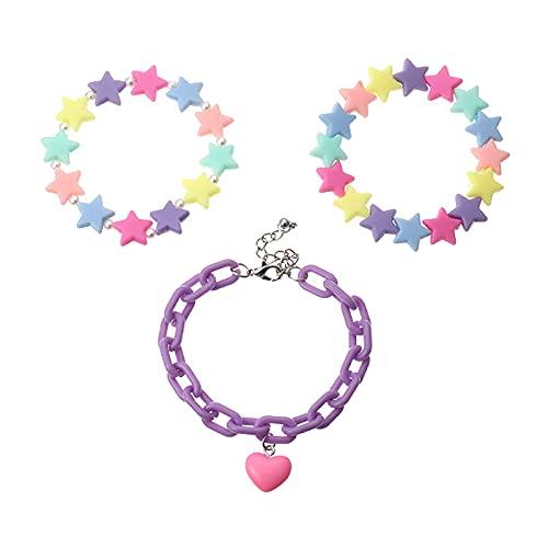 SunniMix 3pcs Pulseras para Niñas de Moda de Color Caramelo Estrellas Perlas Joyería