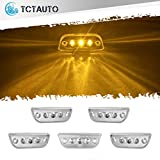 TCTAuto Amber Cab Marker Top Roof Running Lights Assembly 3LED with Reflective Clear Lens Compatible with Peterbilt 579 Kenworth T680 T770 T880, Pack of 5
