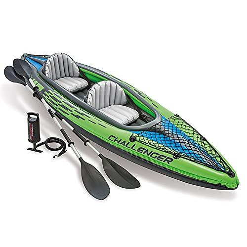 Barca Hinchable Kayak Bote Inflable Tipo V Inflatable Boat 2 Personas con Asiento Regulable PVC Remo y Bomba con Aletas para Surfear 351x76x38cm