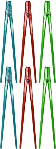 Essstäbchen mit Wäscheklammern, 22,9 cm lang, wiederverwendbar, ideal für jedes Alter und jeden Anlass, Rot, Grün und Blau, 6 Stück