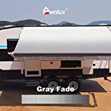 Awnlux RV Awning Fabric Replacement Waterproof Vinyl Shade Screen for Awnings Camping Universal Fit Fabric Sun Shade UV Sun Blocker Canopy RV Awning Shade Shelter Gray Fade-10'(Fabric 9'2')