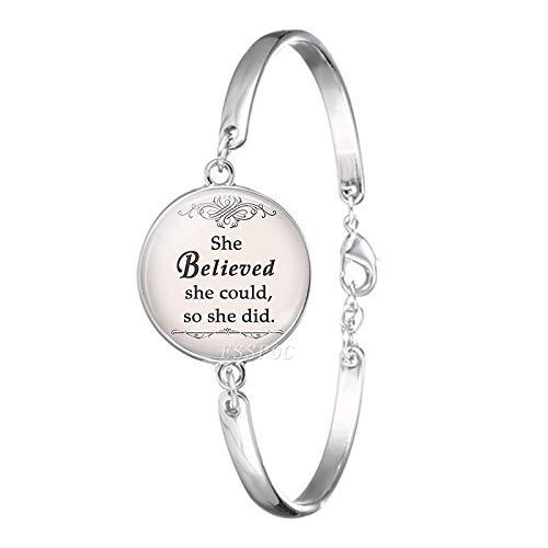 PicZhiwenture Armb?nder Armband Glaube Hoffnung Armband Hakuna Matata inspirierende Zitat Glas Cabochon Schmuck Buddhismus Kunst Armreif Frauen Armb?nder Mode Geschenk B