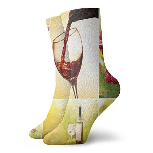 Calcetines suaves de media pantorrilla, collage de hábitat con botella de vino y hojas de cosecha en la granja en el pueblo de otoño, calcetines para mujeres y hombres mejores para correr