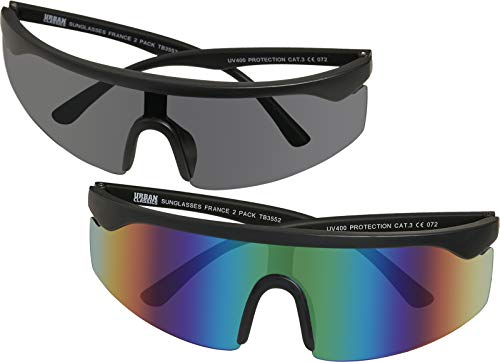 Urban Classics Sonnenbrille Sunglasses France 2-Pack Lunettes de Soleil, Noir/Bleu-Vert, Taille Unique Mixte Enfant
